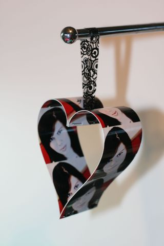 2 photo strip heart ornament