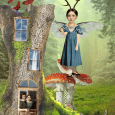Girl with antlers in tree